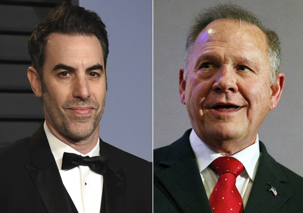 "Sacha Baron Cohen, left, is being sued by former U.S. Senate candidate Roy Moore, who says he ""suffered extreme emotional distress"" from being pranked."