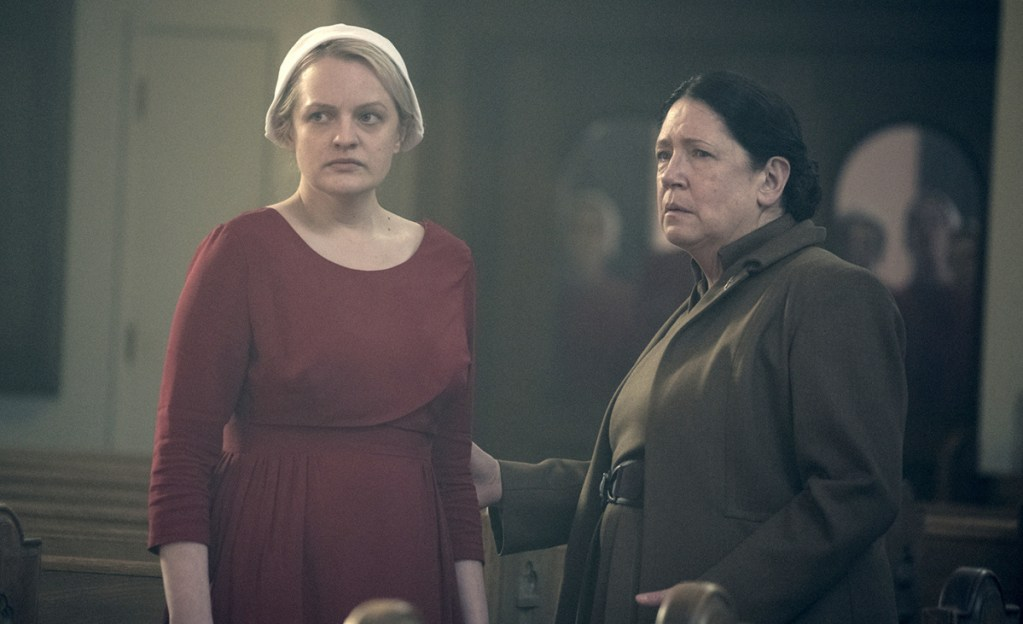 """Elisabeth Moss, left, and Ann Dowd in """"The Handmaid's Tale."""" The Hulu series is favored to win the best drama award in Monday's Emmy Awards."""