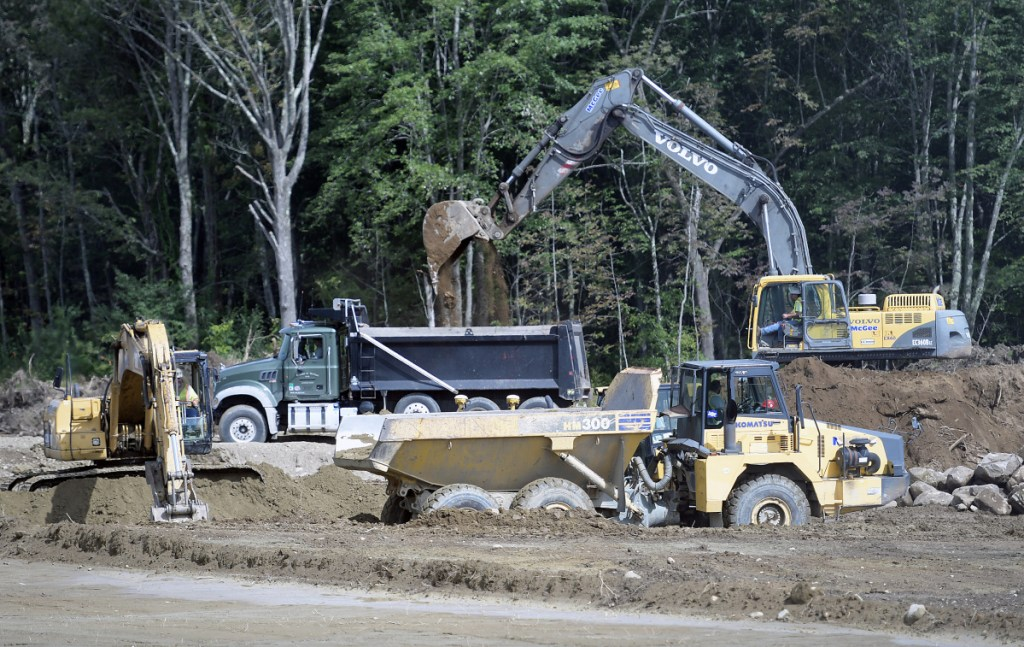 McGee Construction performs site work at the future middle-elementary school in Monmouth earlier this month.