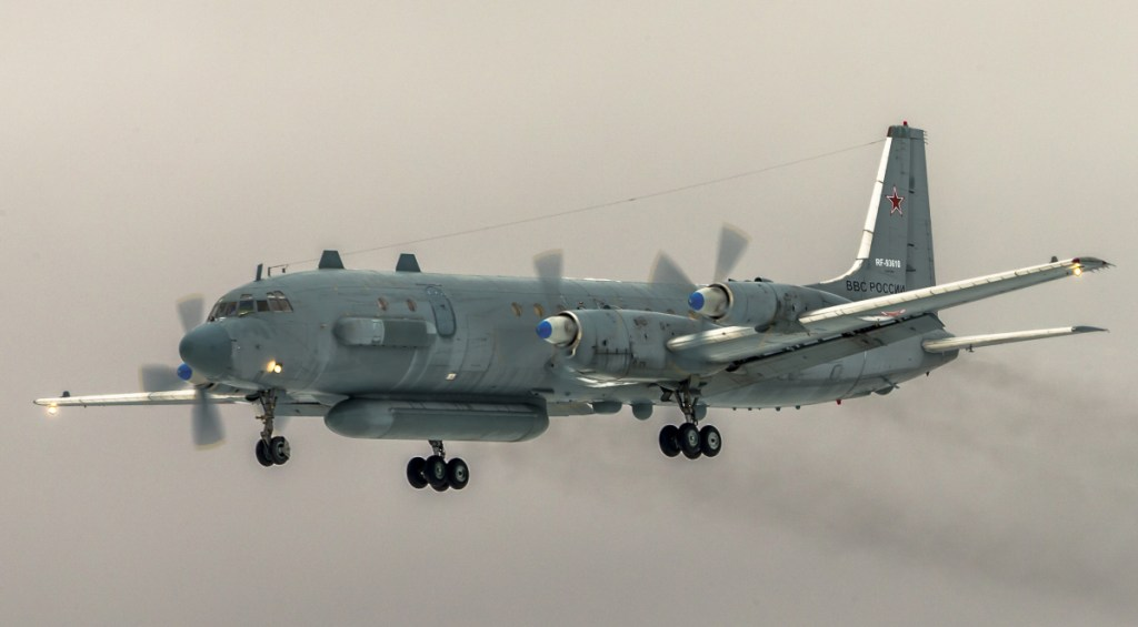 A Russian aircraft was shot down Tuesday by a Syrian missile over the Mediterranean Sea, killing all 15 people on board.