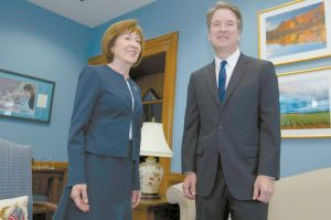 SEN. SUSAN COLLINS, R-Maine, meets with Supreme Court nominee Judge Brett Kavanaugh at her Washington office on Aug. 21. Collins is under increasing pressure from constituents over her crucial vote in the judge's confirmation. THE ASSOCIATED PRESS / JOSE LUIS MAGANA