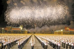 North Korean students take part in a torch light march held in conjunction with the 70th anniversary of North Korea's founding day celebrations in Pyongyang, North Korea, on Monday. AP PHOTO / NG HAN GUAN