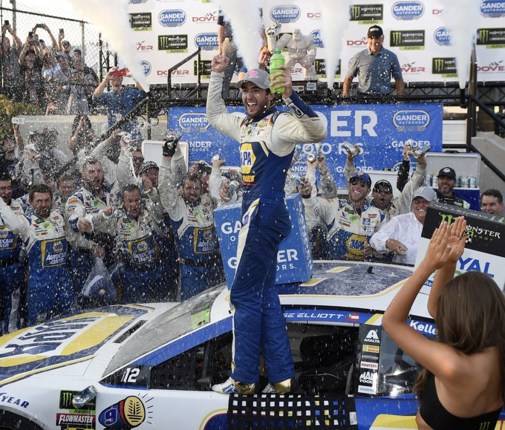 Chase Elliott celebrates after winning the NASCAR Cup series race Sunday at Dover International Speedway – his second career victory.