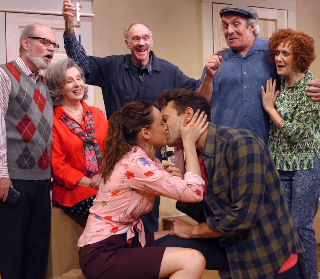 Photo courtesy of The Public Theatre   Caroline Portu and Kelsey Nash with, from left, Mark Cartier, Donnah Welby, Glenn Anderson, Bill Van Horn and MarTina Vidmar.