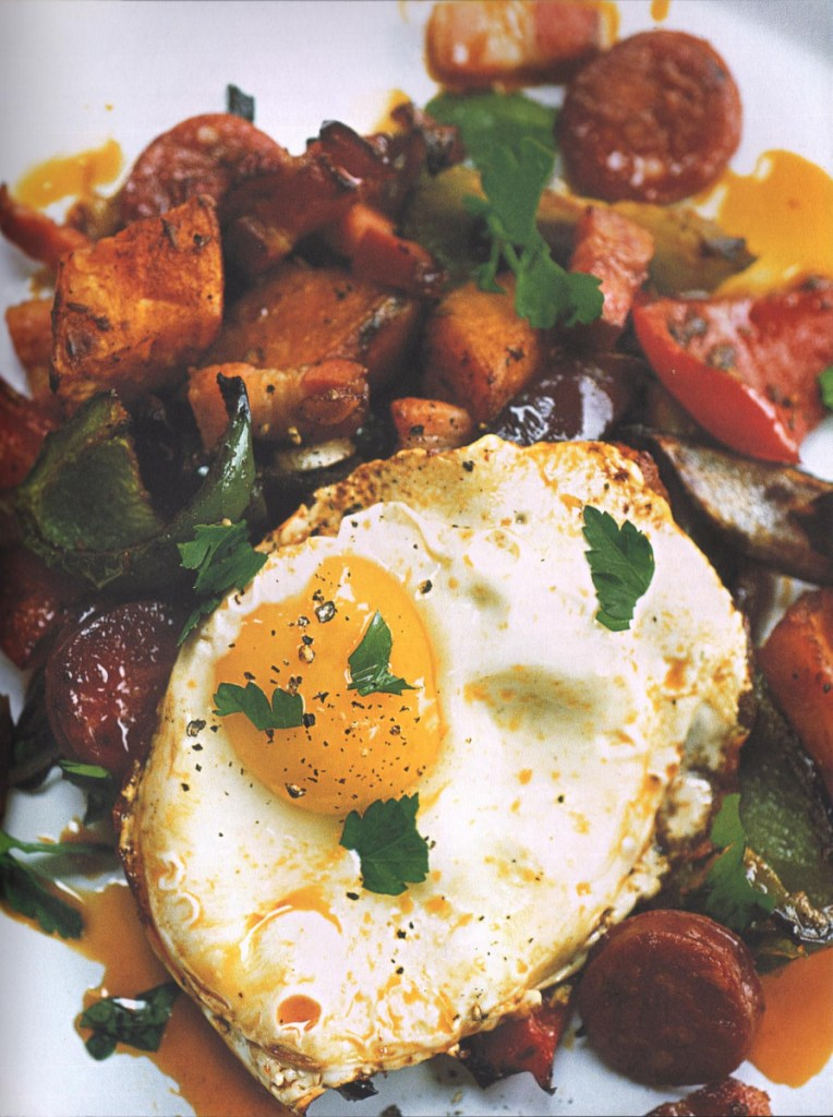 Spanish Sweet Potato with Peppers, Chorizo and Fried Egg.