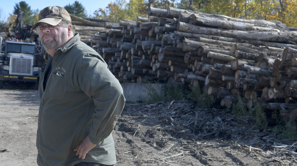 "Andy Allen prepares to collect logs Tuesday to process at his Farmingdale firm, A.W. Allen Firewood. ""We're shipping firewood out faster than we can make it,"" he said of demand this season."