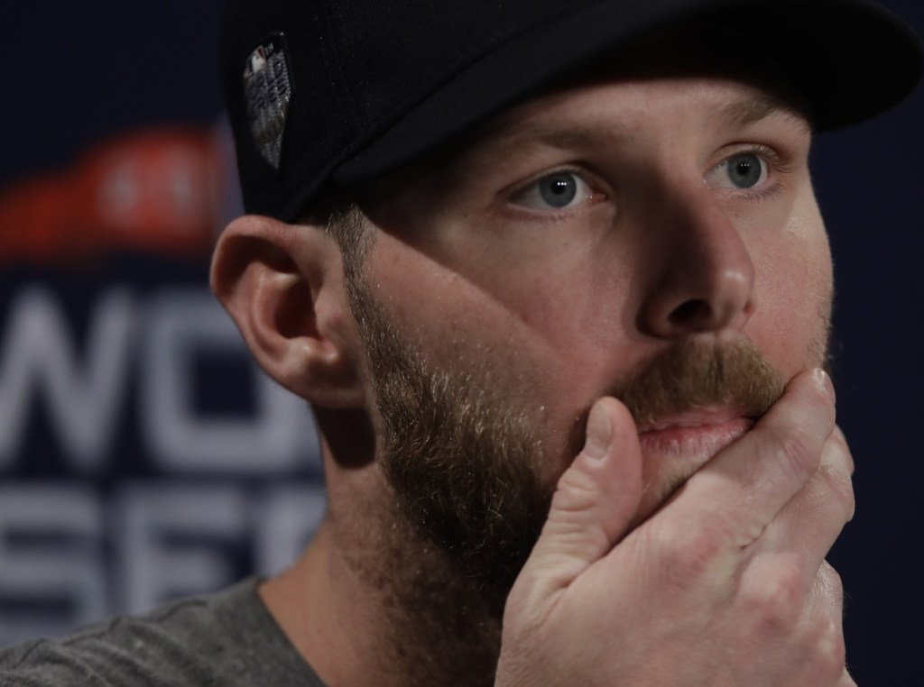 Boston Red Sox pitcher Chris Sale answers questions during a press conference before the start of the World Series last week.
