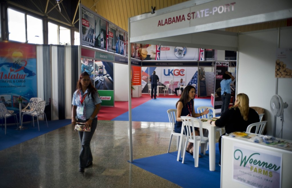 A stand representing Alabama is part of a reduced U.S. presence at the Havana International Fair in Cuba this week.