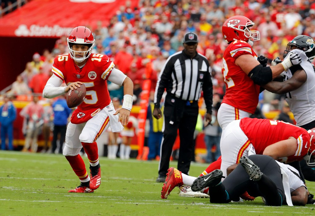 Chiefs quarterback Patrick Mahomes didn't have a touchdown pass Sunday, but did run for a TD in a 30-14 victory over the Jaguars.
