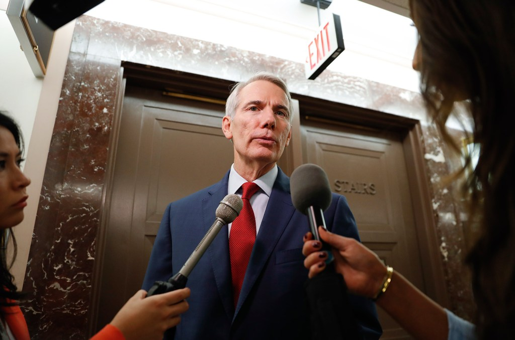 """Sen. Rob Portman, R-Ohio, is one of three senators who have sponsored legislation that would require the Defense Department to justify a """"national security"""" basis for tariffs."""