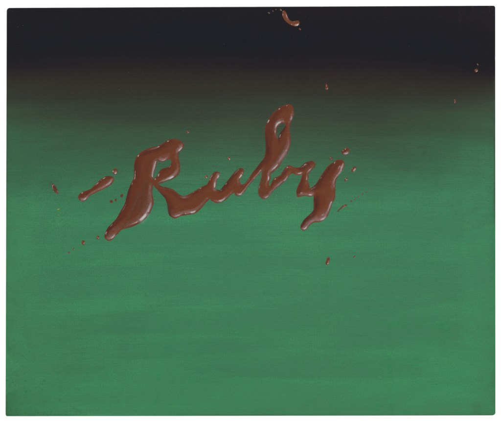 "Ed Ruscha's ""Ruby,"" oil on canvas, 20""x24"""