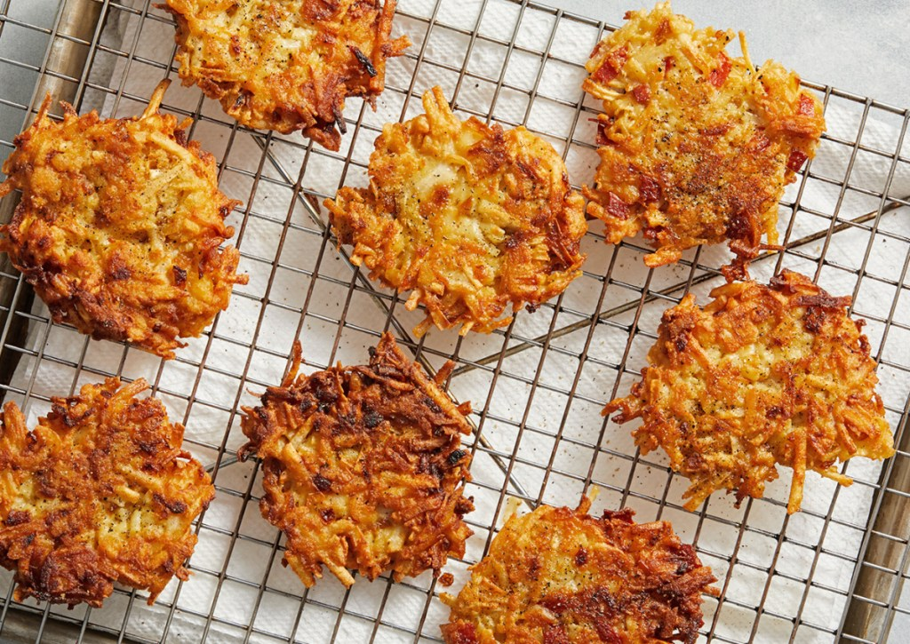 This recipe for Hash Brown Latkes with Caramelized Onion makes 12 to 16 pancakes.