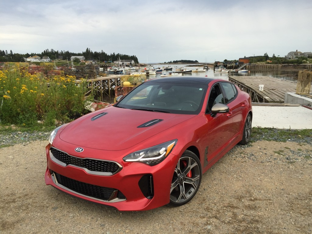 """The Kia Stinger GT: """"There is a strong hint of the Genesis luxury brand evident in the chassis and overall styling."""" (Photo by Tim Plouff. Location: Corea Harbor.)"""
