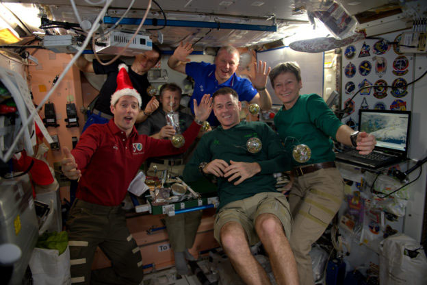 Christmas dinner aboard the International Space Station in 2016