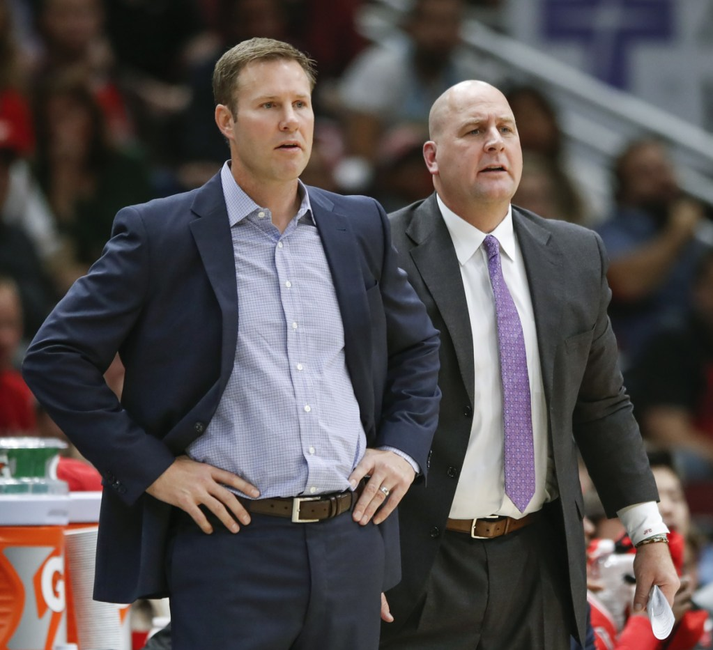 The Chicago Bulls fired head coach Fred Hoiberg, left, on Monday, and replaced him with Jim Boylen, right, who averaged 21 points as a senior at the University of Maine in 1986-87.