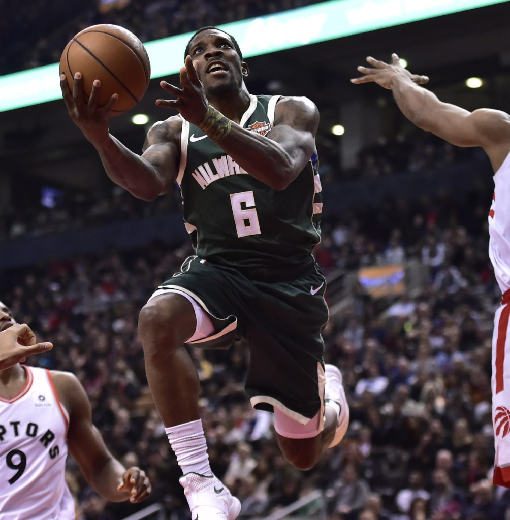 Milwaukee Bucks guard Eric Bledsoe drives to the net during the first half of the Bucks' 104-99 road win over the Toronto Raptors on Sunday.