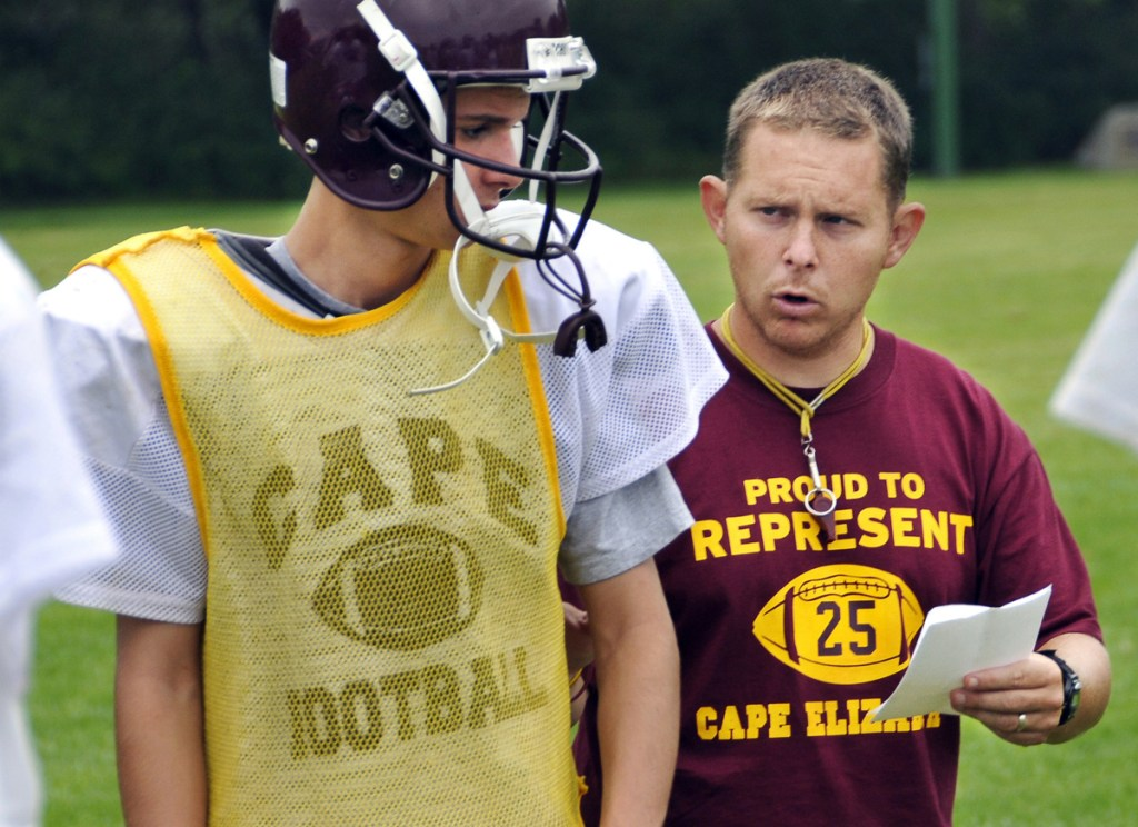 Aaron Filieo, shown in a 2008 file photo, compiled a 106-48 record in 15 seasons as head coach of the Cape Elizabeth High football program. (Gordon Chibroski/Staff Photographer)