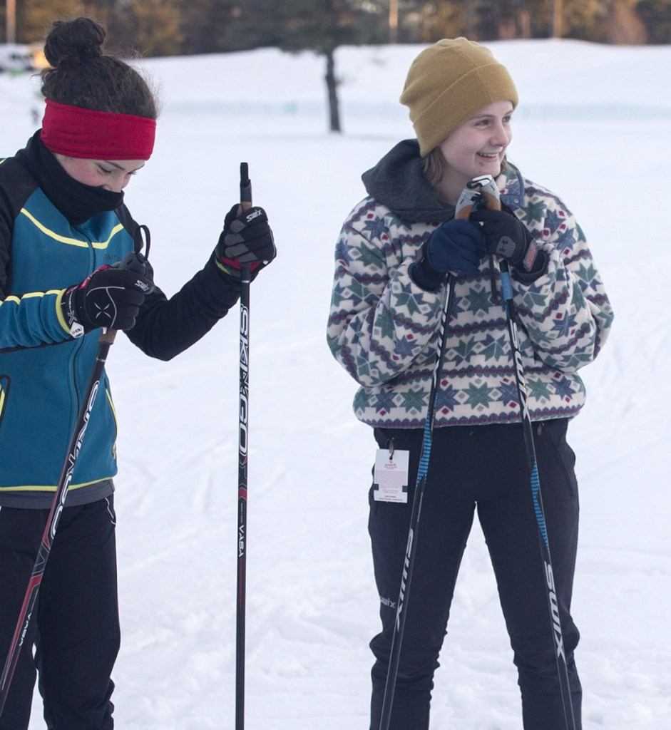 PORTLAND, ME - DECEMBER 18: Grace Tumavicus, of Deering High, center, talks with teammates during Portland Nordic Skiing practice on Tuesday, December 18, 2018. (Staff photo by Brianna Soukup/Staff Photographer)