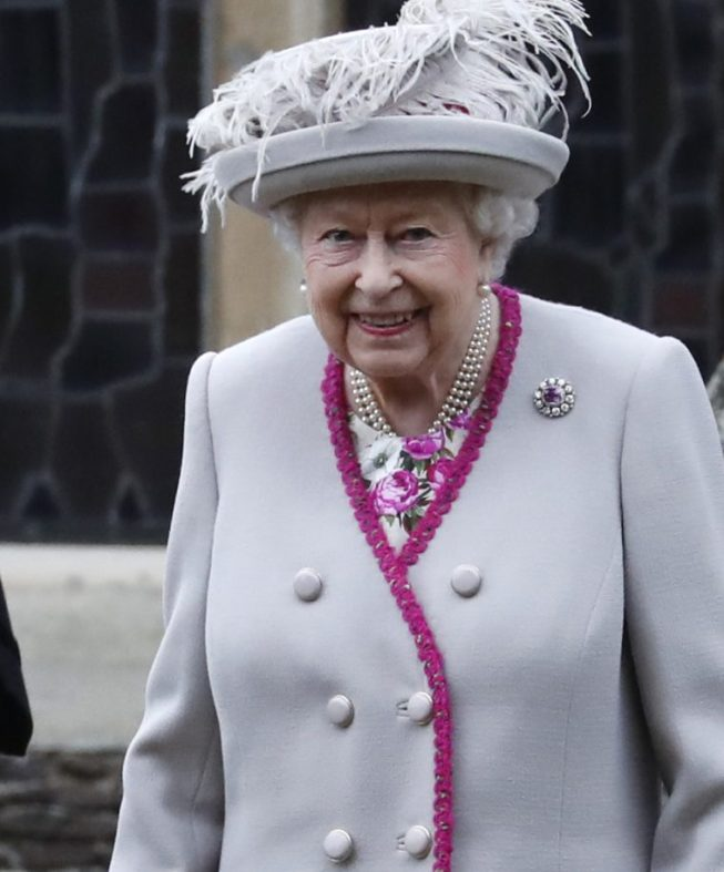 Queen Elizabeth II leaves church after attending a Christmas Day service.