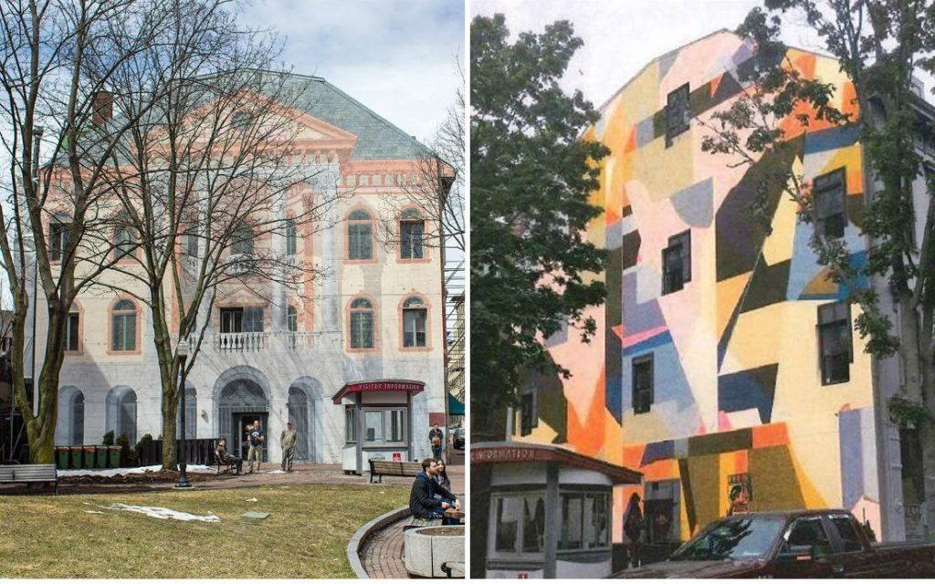The image at right depicts the mural designed by Will Sears that will replace the trompe l'oeil mural at left, painted on the building at 80 Exchange St. by Scarborough artist Chris Denison in 1986.