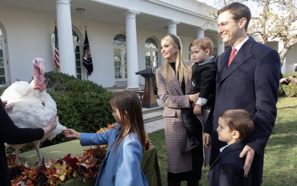 "Above: Ivanka Trump tweeted from the annual White House turkey pardon: ""Joseph and Arabella have sworn off turkey and are insisting on a vegetarian Thanksgiving!"""