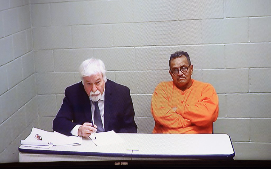 Rene Romero appears via video in Biddeford District Court charged with aggravated driving to endanger, accompanied by his attorney, David Ferrucci, on Friday. The two appeared via video from the York County Jail.