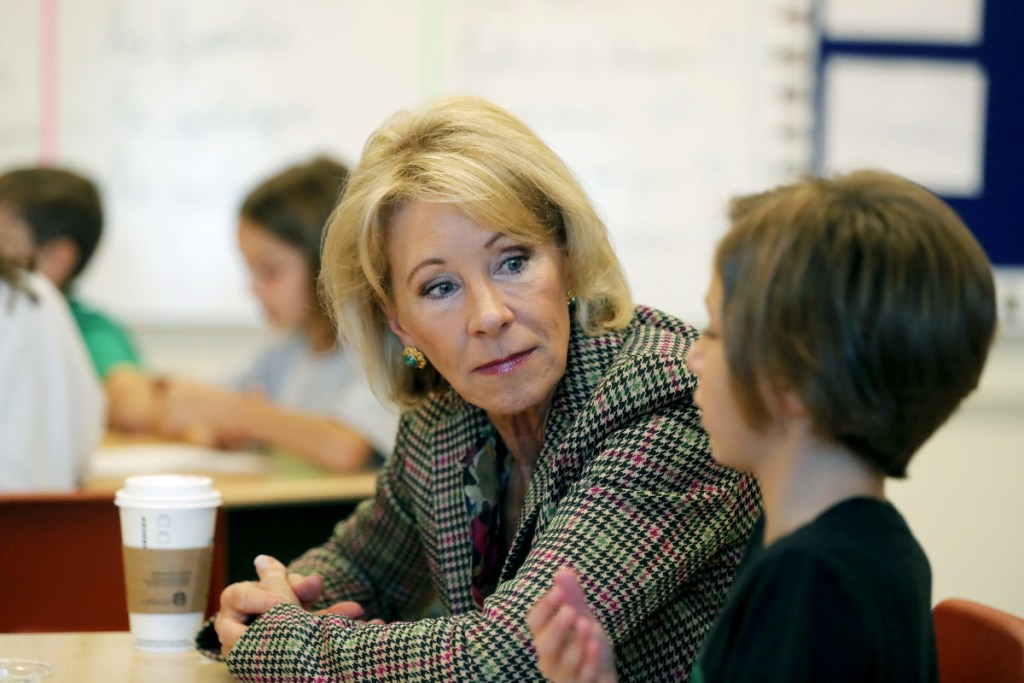 """Education Secretary Betsy DeVos says public schools today are """"more protected and more safe."""""""