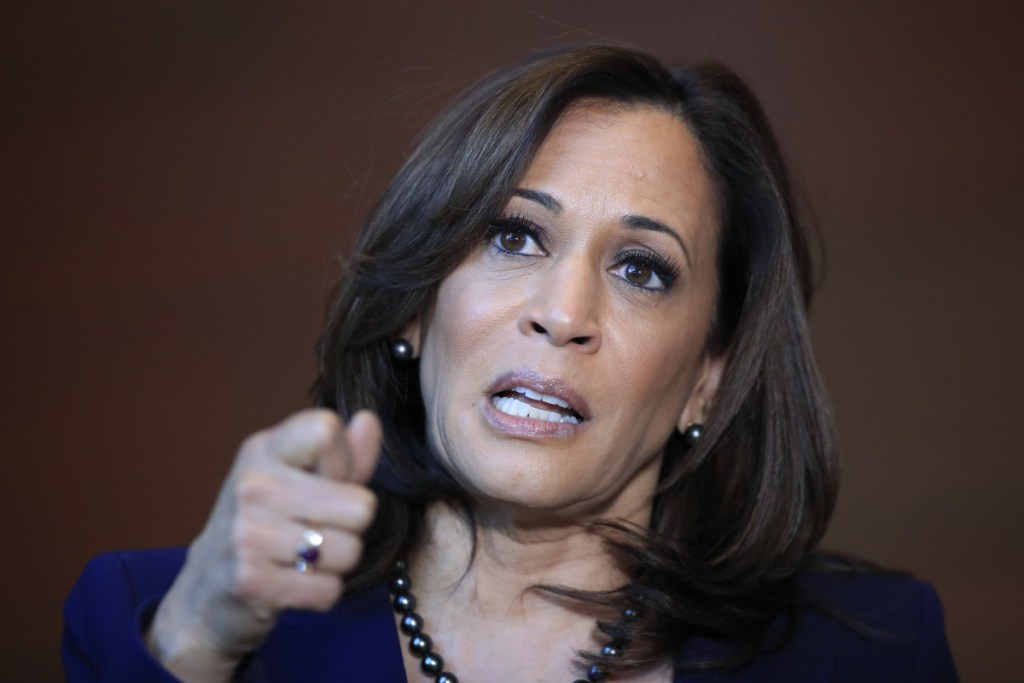 "Sen. Kamala Harris says she's running for president because ""the future of our country depends on ... lifting our voices to fight for our American values."""