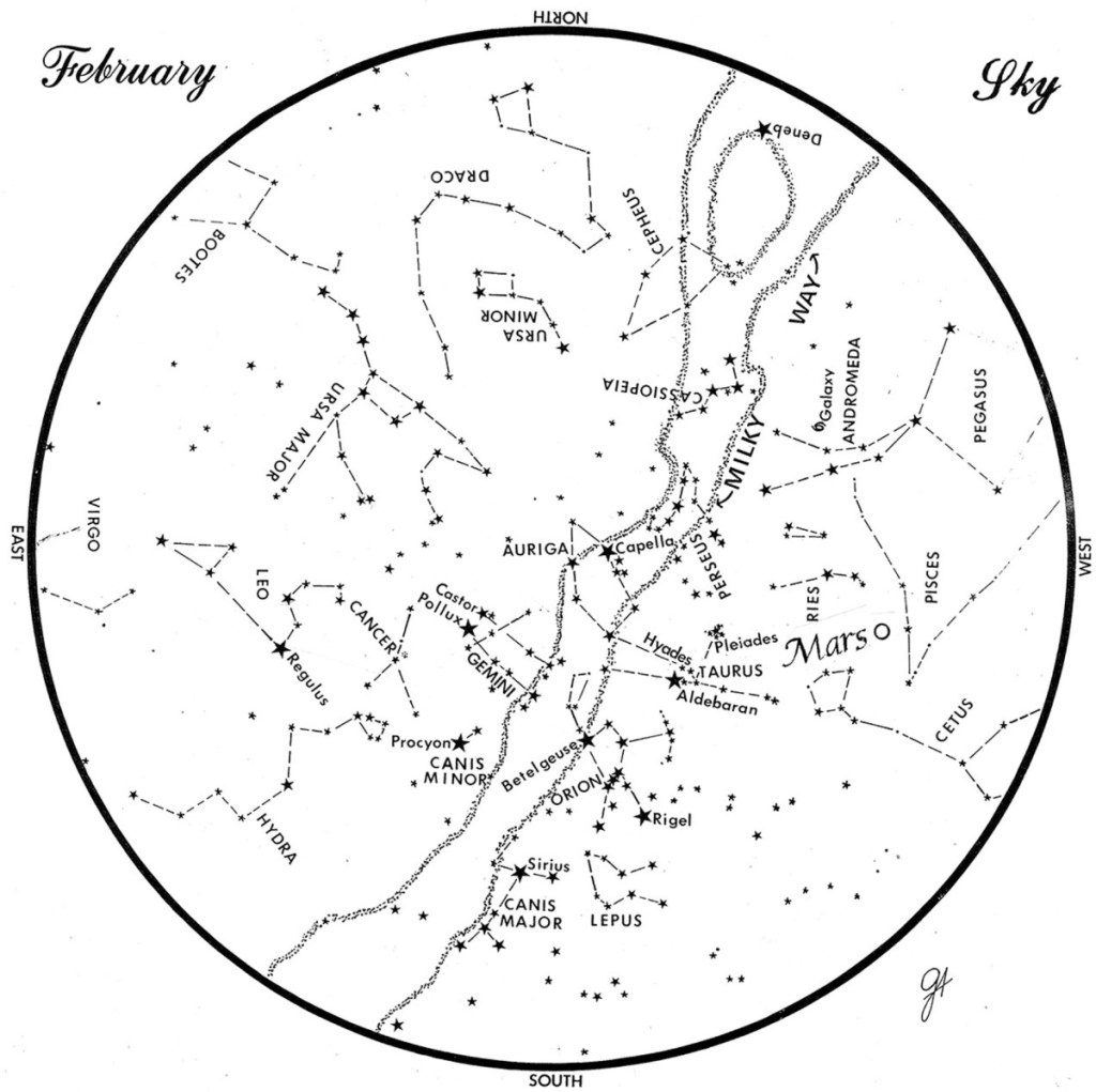 SKY GUIDE: This chart represents the sky as it appears over Maine during February. The stars are shown as they appear at 9:30 p.m. early in the month, at 8:30 p.m. at midmonth and at 7:30 p.m. at month's end. Mars is shown in its midmonth position. To use the map, hold it vertically and turn it so the direction you are facing is at the bottom.