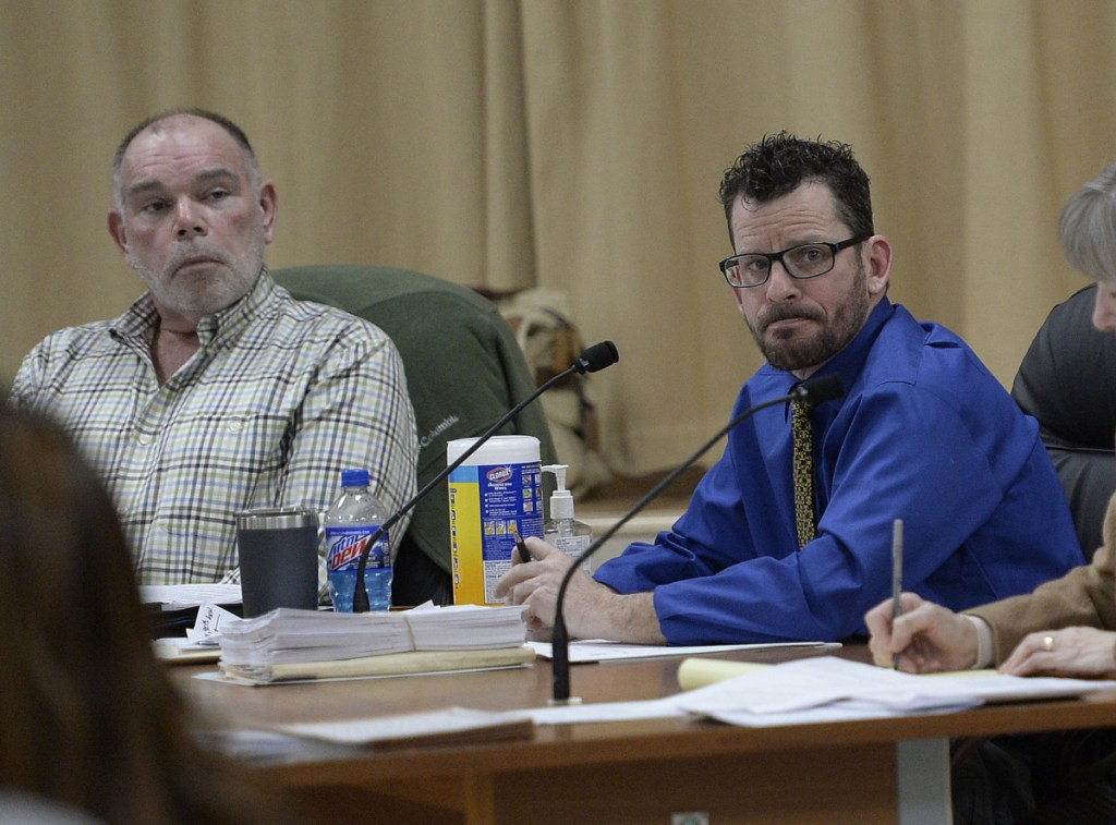 """Select Board Chairman Charles Waite III, left, and Selectman Richard Dolliver listen to public comments at a meeting in January. Targeted in the Ogunquit recall effort, Waite says disagreeing with his decisions """"is not sufficient reason to be recalled."""""""