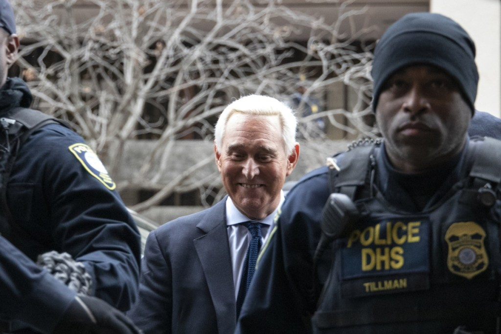 Roger Stone, former adviser to Donald Trump's presidential campaign, center, arrives at federal court in Washington, D.C., on Jan. 29, 2019.