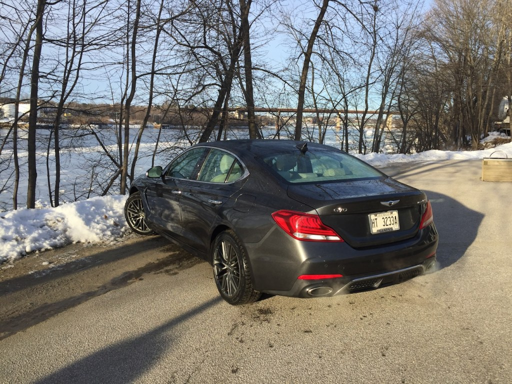 The vehicle reviewed Our top-end Prestige had an EPA mileage rating of 18/25 mpg on premium fuel, competitive with that of German sedans. Photo by Tim Plouff. Location: by the river in Damariscotta.