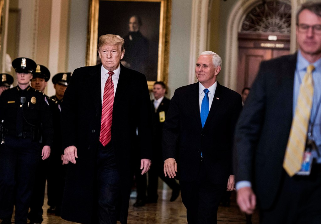 President Trump and Vice President Pence get ready to speak to journalists before going into the Senate policy luncheon on Capitol Hill on Wednesday.