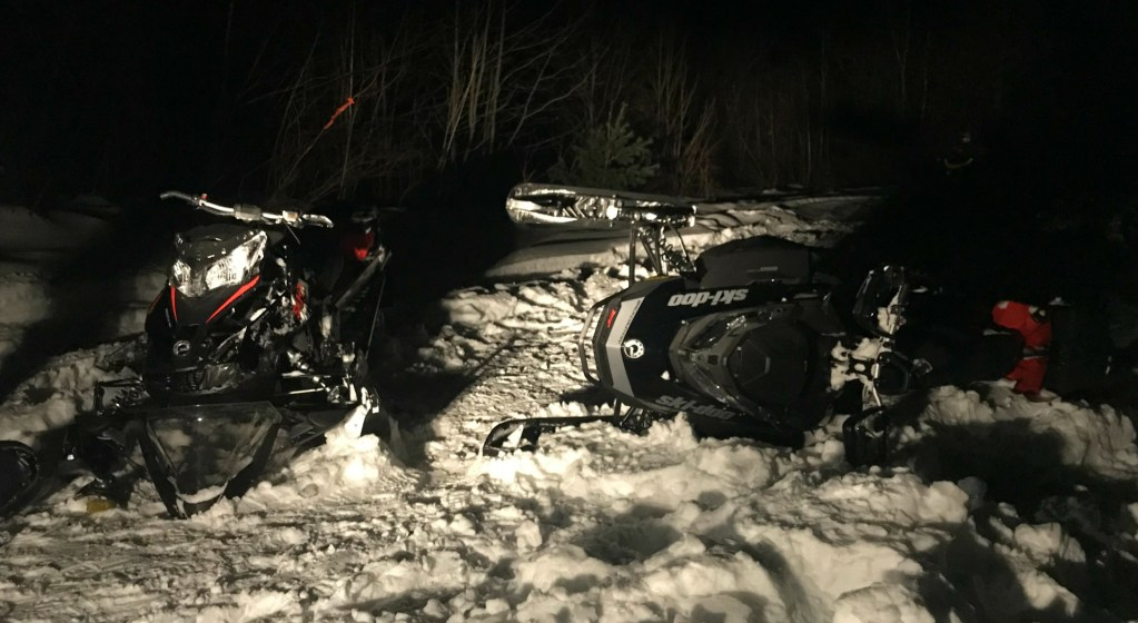 Two men were injured and one was in critical condition after this snowmobile accident near Stacyville.