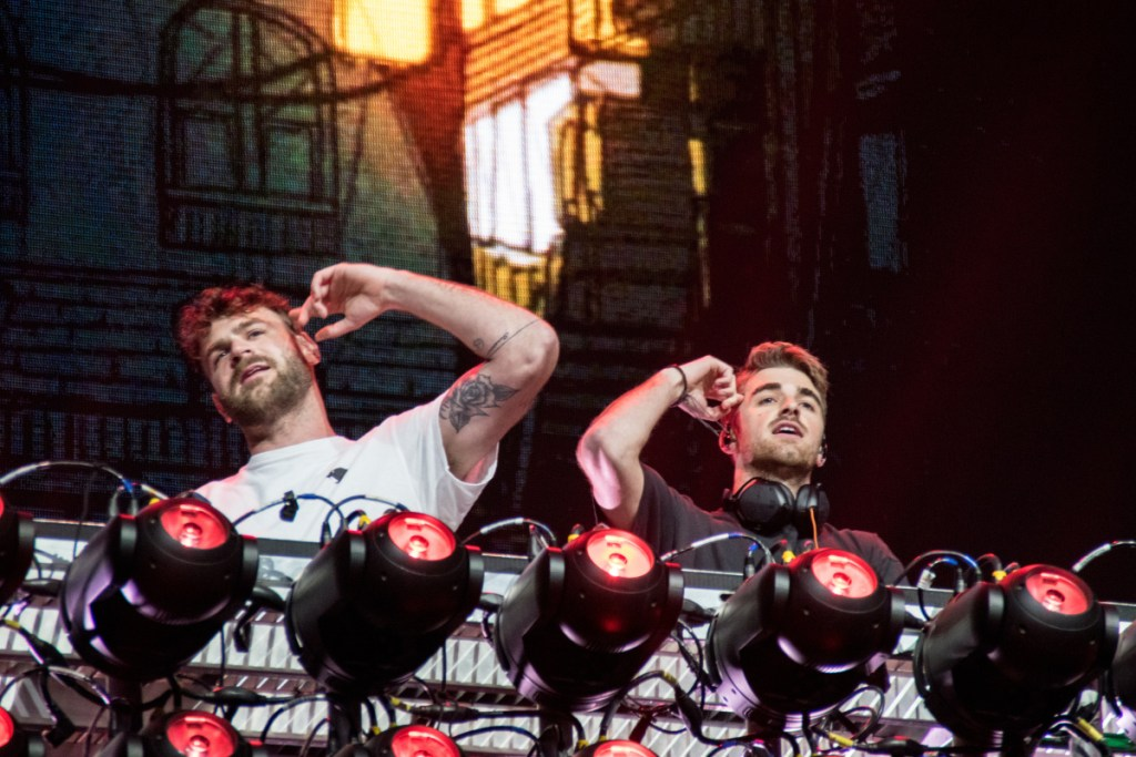 The Chainsmokers in concert at BottleRock Napa Valley in Napa, CA. Alex Pall on the left and Drew Taggart on the right.