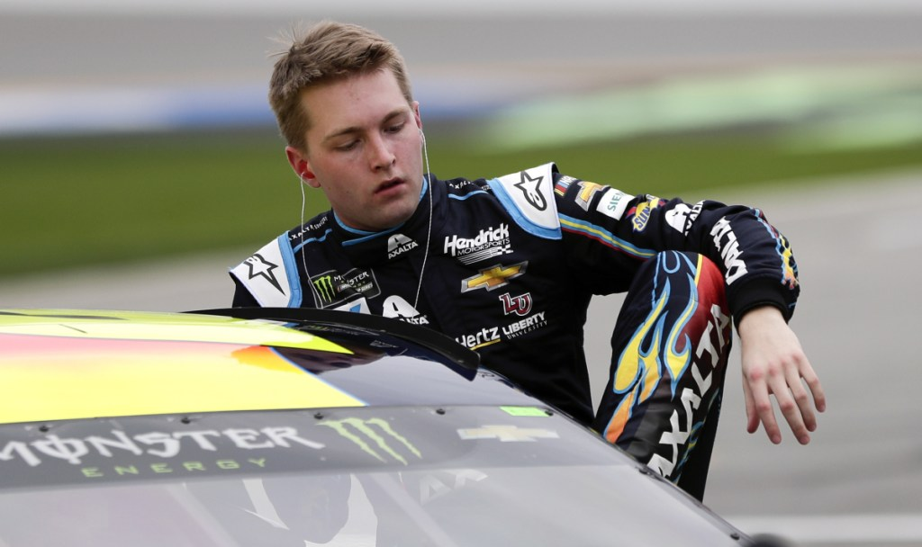 William Byron climbs out of his car Sunday after his pole-winning qualifying run for the Daytona 500. Hendrick teammate Alex Bowman qualified second.