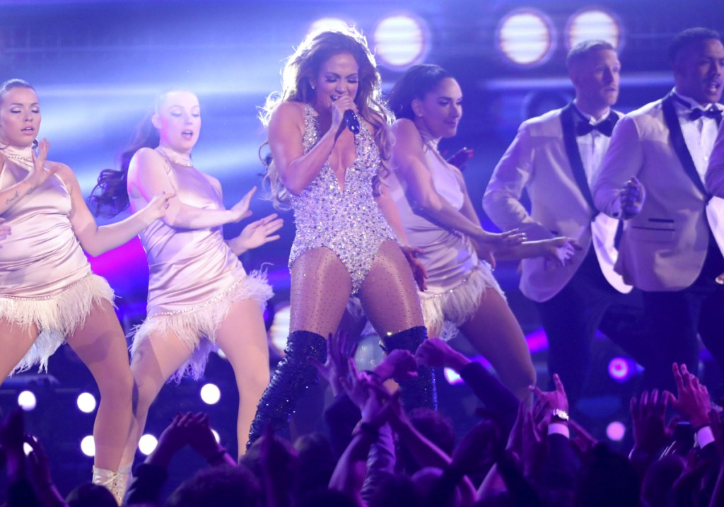 Jennifer Lopez performs a tribute to Motown's 60th anniversary at the Grammy Awards.