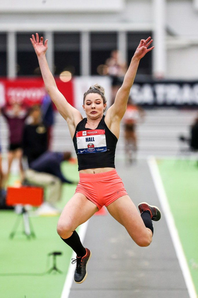 Kate Hall of Casco won the long jump at the U.S. indoor track and field championships on Saturday in New York with a jump of 21 feet, 4   inches.
