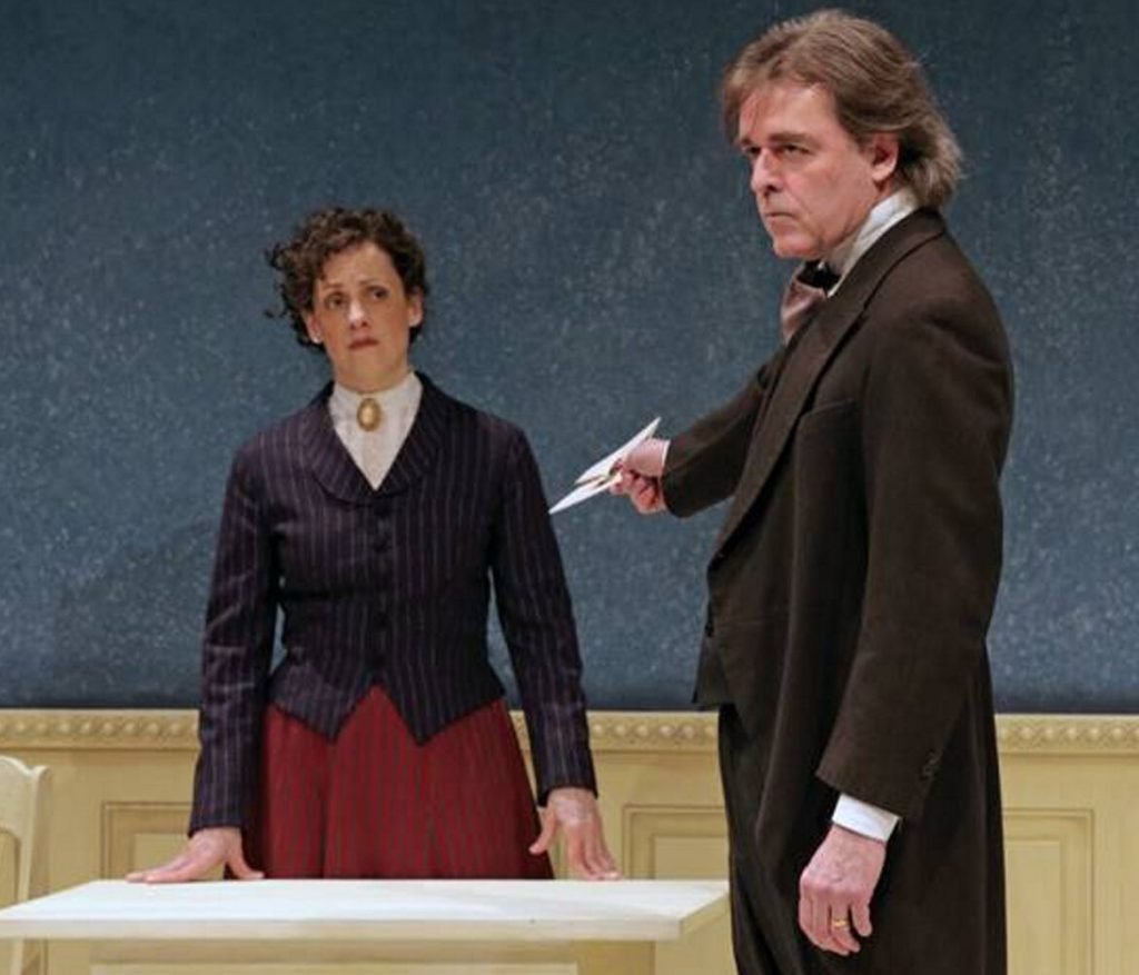"""Abigail Killeen as Nora and James Hoban as Torvold IN """"A Dolls House, Part 2."""""""