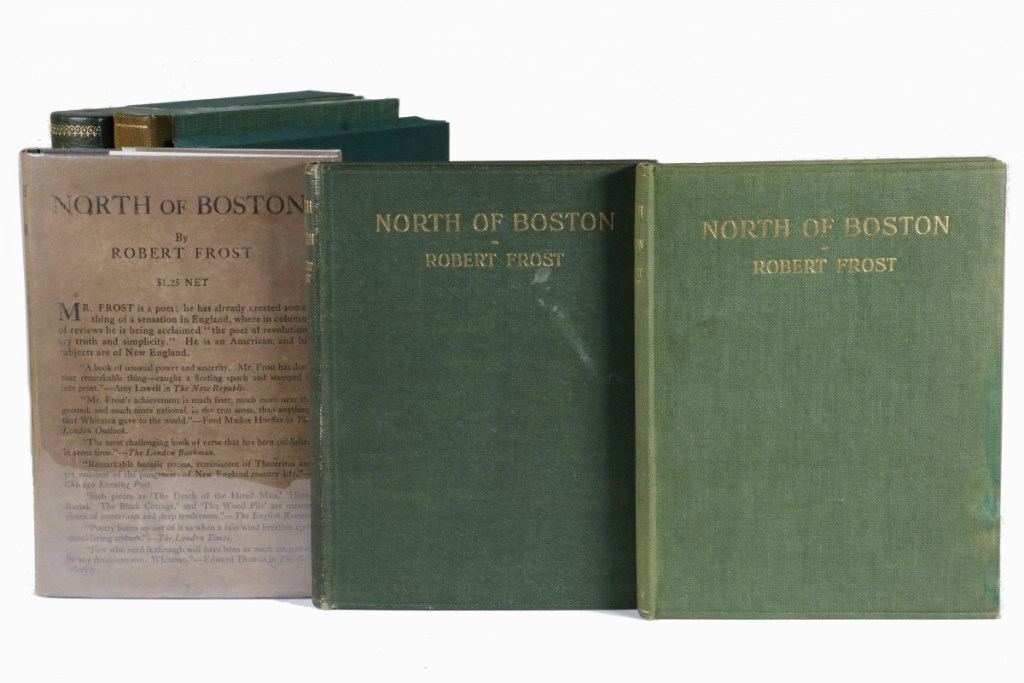 """Friday's auction includes three signed first editions of Robert Frost's signature book, """"North of Boston."""""""