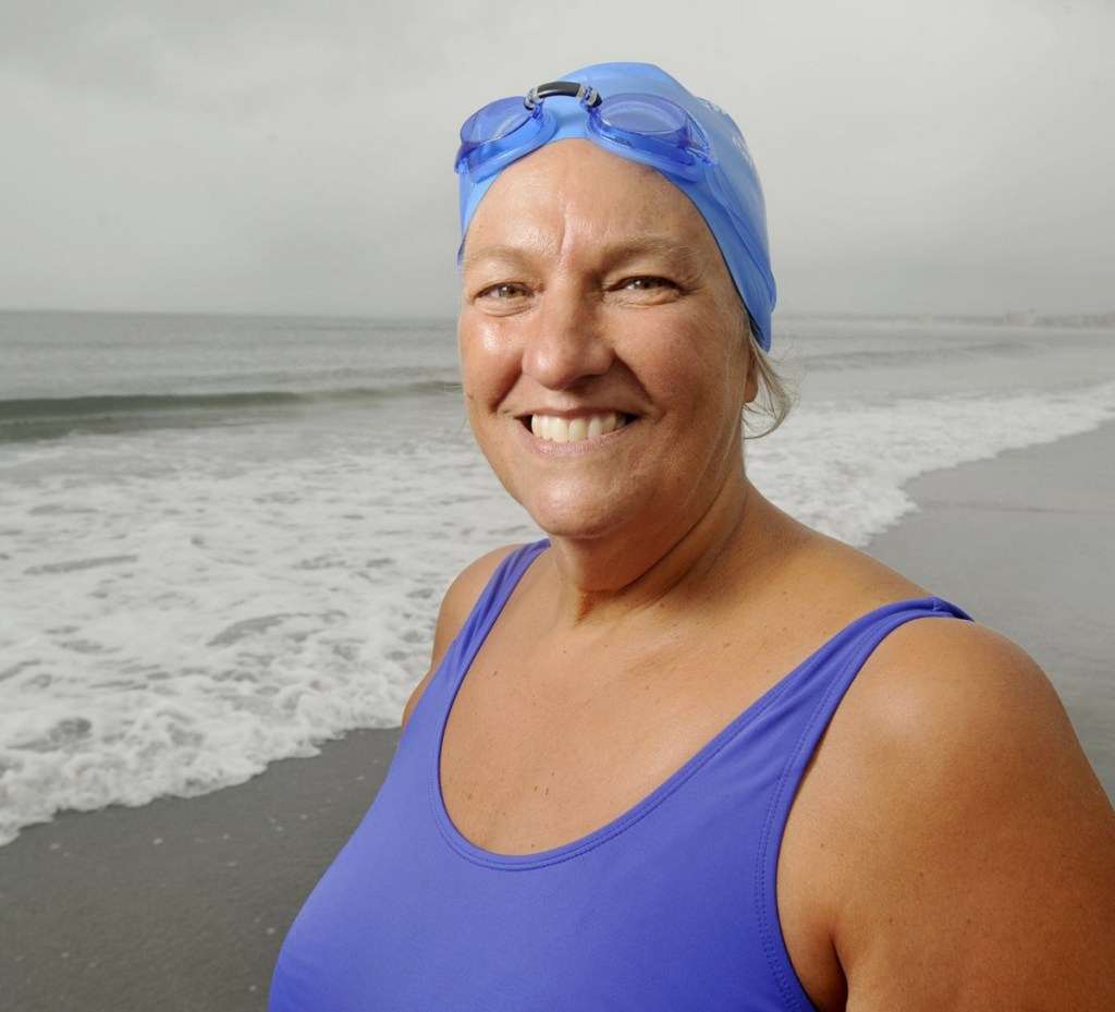 Pat Gallant-Charette, 68, of Westbrook is swimming across Cook Strait in New Zealand in her bid to notch seven channel crossings around the globe.