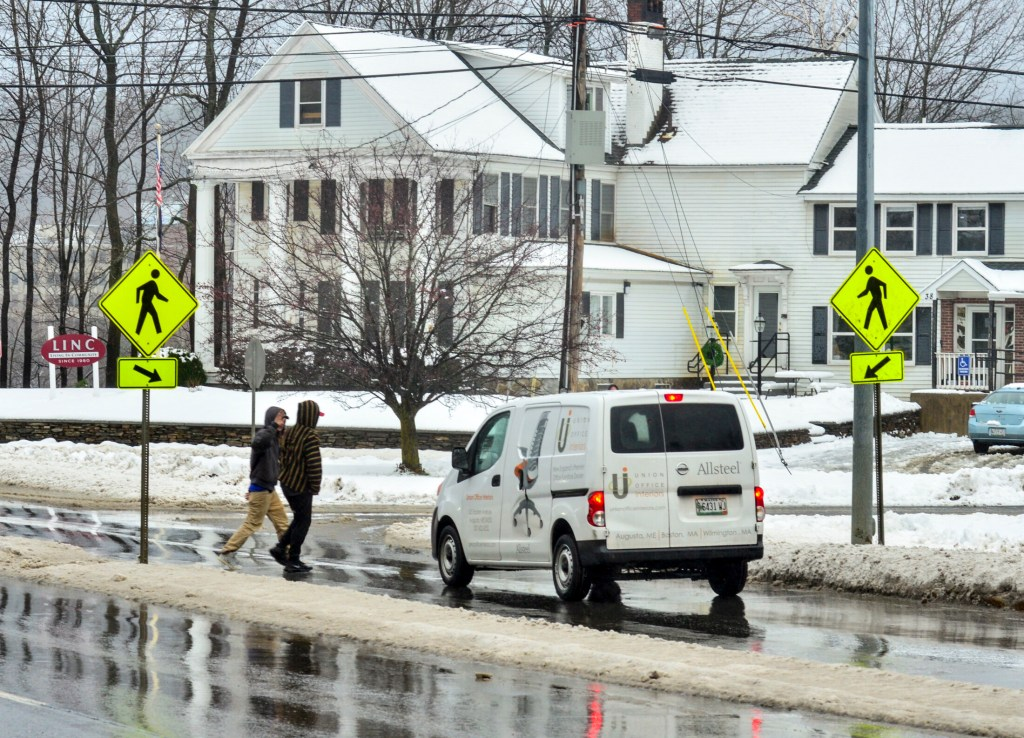The crosswalk and the LINC Wellness & Recovery Center at corner of Memorial Drive and Gage Street near Memorial Bridge in Augusta are shown Nov. 27, 2018, the day after Dana Williams was struck and killed by a truck near the crosswalk.