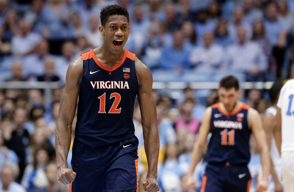 Virginia's De'Andre Hunter (12) reacts following a the Cavaliers' 69-61 win over North Carolina on Monday in Chapel Hill, North Carolina.