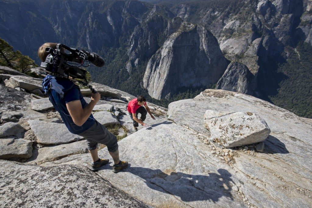 Maine native Clair Popkin films pro climber Alex Honnold clambering to the top of El Capitan using no ropes or other protective equipment.