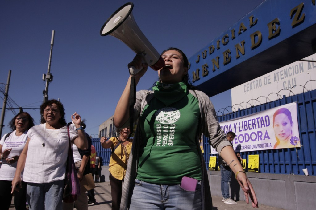 Women hold a rally in San Salvador, El Salvador, last year to demand the government free women prisoners serving time for having abortions.
