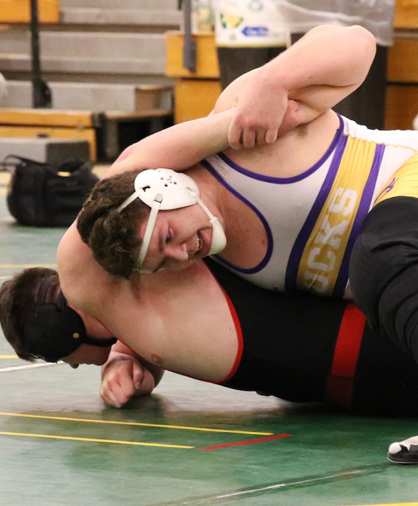 David Gross of Bucksport couldn't wrestle in matches until January this season after recovering from knee surgery, but was almost unbeatable once he returned.