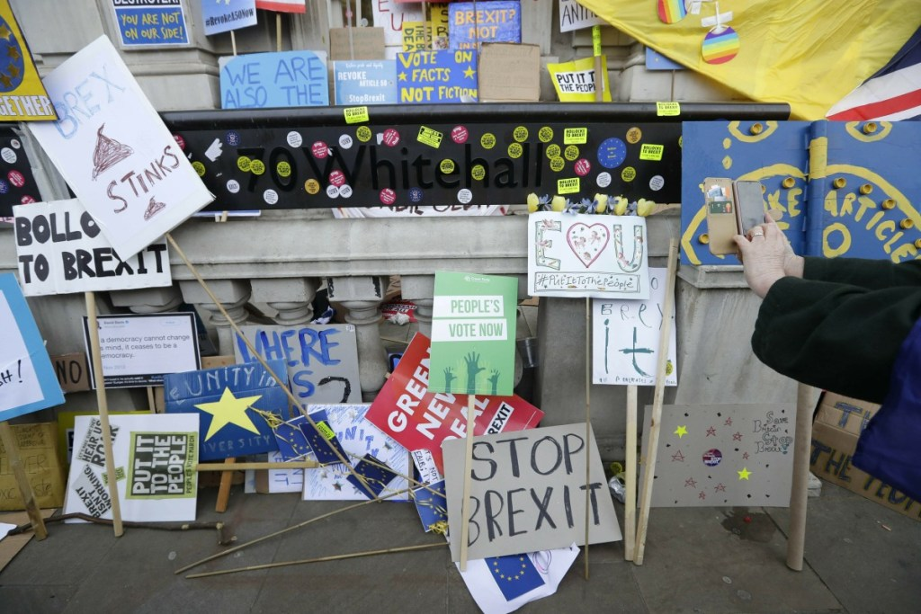Placards and banners are placed outside the Cabinet offices during an anti-Brexit march in London on Saturday.