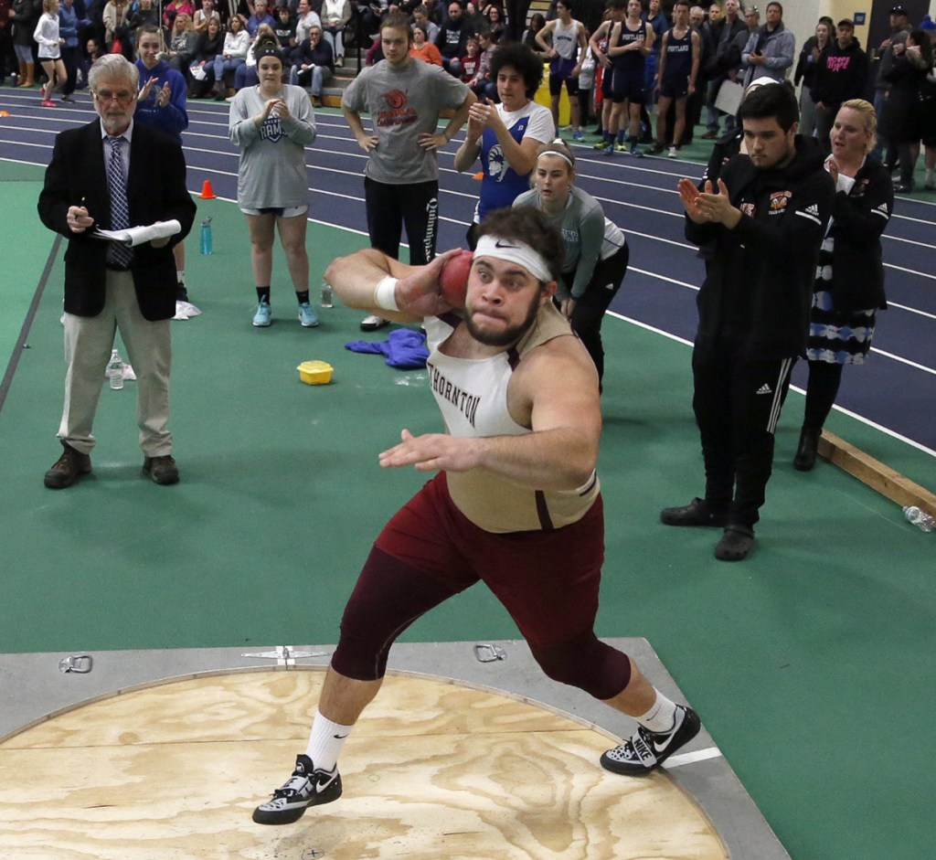 Jason Montano decided not to play football for Thornton Academy in the fall, spending his time instead preparing for the upcoming indoor track and field season. The work proved worthwhile as Montano broke records in the shot put.