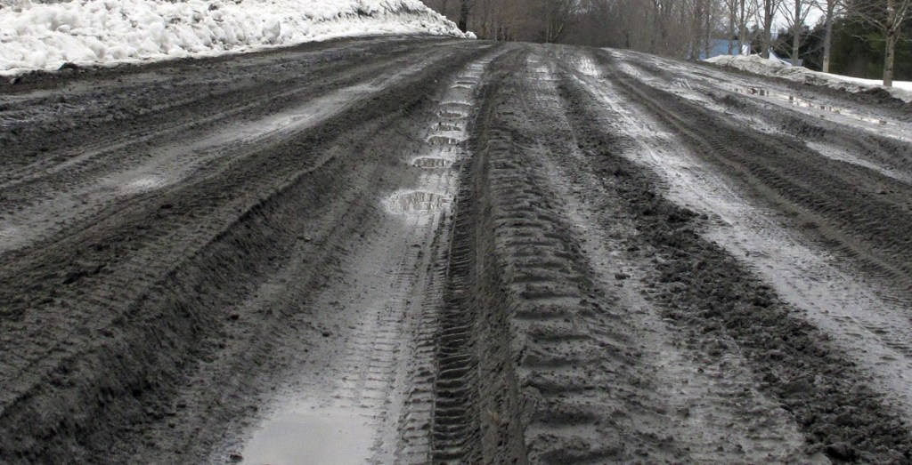 A road shows its muddy ruts in East Montpelier, Vt., last week.