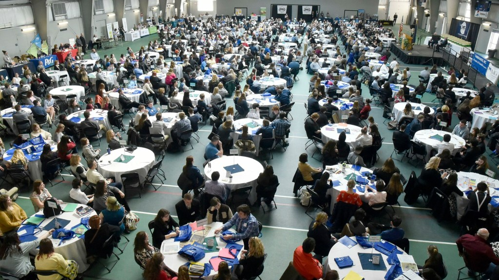 Jobs for Maine Graduates students numbering about 650 from 65 schools from around the state took part in a Career Development Conference on Tuesday at Thomas College in Waterville.